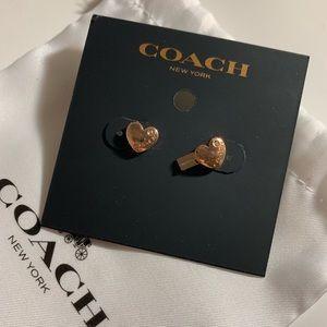 NWT rose cold coach heart earrings!!!